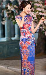 Wholesale Cheongsam White Purple - Chinese classical dress long cheongsam outfit knitting flexibly blue purple red balck white silk satin Qipao dress QP1516