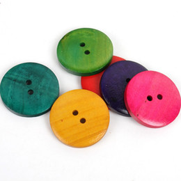 Wholesale Hole Plastic Buttons - 80pcs Trendy 2 Holes Retro Plastic Button Clothing Sewing Scrapbooking Craft For DIY 25mm 111321