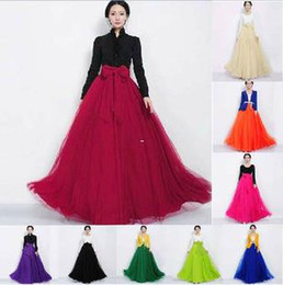 Wholesale High Waisted Long Skirts - 2016 Hot Sale Women Ladies Female Long Tulle Gauze Skirts High-waisted skirt Elegant Prom Party Wedding Elastic Waist Long Skirts for women