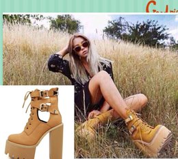 Wholesale Metal Winter Martin Boots - Wholesale-Womens 2015 winter boots ankle leather boots up platform motorcycle boots women fashion Martin boots metal buckle designer shoes