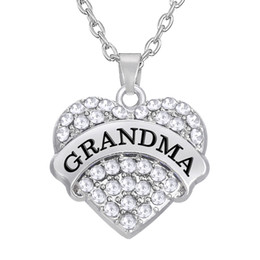 Wholesale Personalized Charm Pendant - Personalized Heart Pendant Colorful Initial Grandma Rhodium Plated Elegant Pendant Charms For DIY Jewelry Accessory