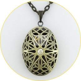 Wholesale Copper Filigree Necklace - 2015 hot antique bronze brushed vintage copper oval shape Necklaces hollow filigree locket pendant necklace prayer jewelry