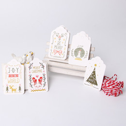 Wholesale Hang Tags Printing - 50PCs DIY Xmas Paper Tag With String 4x7CM Craft Label Luggage Party Favor Christmas Decoration Hanging Ornaments For Home