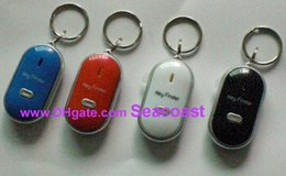 Wholesale Easy Key Finder Locator - 100pcs lot Easy Sound Control Locator Lost Key Finder with Flashing LED Light Key Chain Keychain Keys Finding Whistle