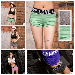 Wholesale Love Pink Shorts L - Pink Letter Yoga Gym Pants Love Pink Shorts Women Fitness Dance Sexy Shorts Summer Running Beach Shorts Leisure Homewear Pants KKA3178