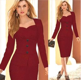 Canada 2015 Fall False Two Pieces Long Sleeve Wear to Work Robes Sweetheart Plissé longueur au genou crayon cravate avec Peplum OXL150301 two wear on sale Offre