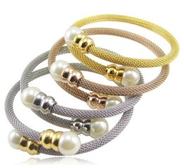 Wholesale Pearl Bangles Designs - Choose Four Color White pearl Design Women Bracelets Stainless Steel Wire stretch Cuff Bangle Nice