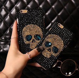Wholesale Iphone Hard Diamond Case - COOL 3D Skull Style Cell Phone Cases Rhinestone diamond Shiny bling Hard PC Cover Case for iphone7 7plus 6 6Splus 5S SE 4S