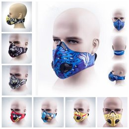 Wholesale Face Mask Filters - PM2.5 Fashion Cycling Air Pollution Face Mask Activated Carbon Dust Sports Mask Filters Smog Face Riding Mask KKA3554