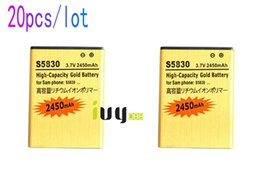 Wholesale Gio Battery - 20pcs lot 2450mAh EB494358VU Gold Replacement Battery For Samsung Galaxy Ace S5830 S5838 Gio S5660 S5670 I569 I579 S7500 Pro B7510 Batteries
