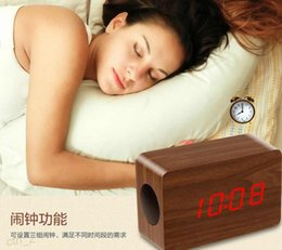 Wholesale Tablet Pc Alarm - New Portable Wooden Wireless Bluetooth Speaker LED Alarm Clock Display Stereo Sounded Speaker For iPhone Samsung Tablet PC