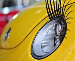 Wholesale Car Eye Lashes - 3D Car Eyelashs   3D Charming Black False Eyelashes Fake Eye Lash Car Stickers Headlight Decoration Funny car Decal