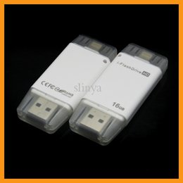 Wholesale Flash Memory Iphone - 16G 32G Mobile Phone Extended Memory Card USB i-FlashDrive Flash Drive Memory Card Reader for iPhone 6 iPad iOS