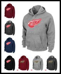 Wholesale Flares Clothing - Epacket Men Redwings icehockey sweatshirts Detroit warm Pullover clothing brown red wine black Mens watching game fire hoodie Calgary M-XXXL