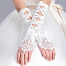 Wholesale Cheap Lace Yarn - 2016 NEW HOT Cheap Free Shipping Long Modern Wedding Gloves Fingerless Bride Glove High Quality Newest