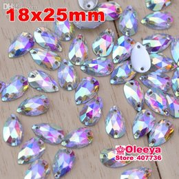 Wholesale Sew Rhinestones 18x25mm - Wholesale-200pcs 18x25mm Acrylic Waterdrop Shape Crystal AB Color Sew On Rhinestones 2 holes Sewing Crystal For Casual Dresses Y2136
