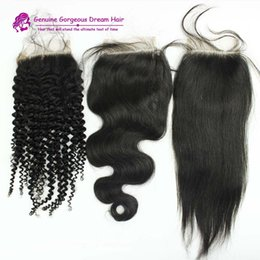 Wholesale Kinky Straight Style - Straight body wave kinky curly style lace closure 3.5x4inch free middle three part top closure Brazilian human hair lace closure