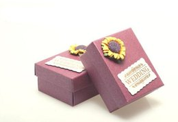 Wholesale Wedding Paper Sunflowers - 50 Pcs Lot Sunflower love Wedding Candy Boxes Shinny Purple Rectangle Box Favor Holders Gift Box 2016 Spring Hot Sale