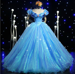 Wholesale Green Butterfly Pictures - Blue Fashion Ball Gown V-neck Pleated Floor-length Tulle Cinderella Prom Dress with Butterfly 2016 Real Photo