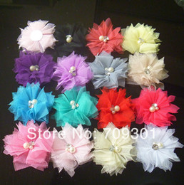"Wholesale Tulle Flower Rhinestone Center - 20 Colors 2 .0 ""Tulle Flowers with Rhinestone Pearl Center Lace Flowers Hair Accessories Fashion Headbands 100pcs"