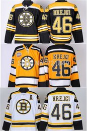 Wholesale Full Si - factory wholesale price!!!Free Shipping Ice Hockey Boston Bruins 46 David Krejci Jerseys Black Home white gold winter classic si