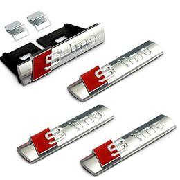 Wholesale Back Fender - Exterior Accessories Car Stickers 4pcs Set Car Styling Silver S Line Sline Grille + Fender Side + Back Emblem Decal Badge