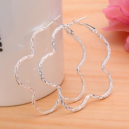 Wholesale Sterling Silver Heart Hoop Earring - Wholesale - lowest price Christmas gift 925 Sterling Silver Fashion Big Circle drop Earrings , 925 silver fashion jewelry EH18