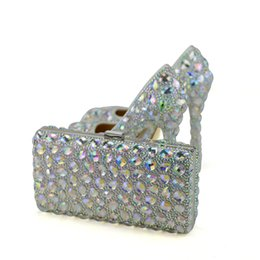 Wholesale Matching Shoes Bags Heel - AB Crystal Women High Heel Shoes with Clutch Wedding Party Prom Shoes Matching Bag Beautiful Cinderella Prom Pumps Plus Size