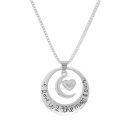 "Wholesale Necklace Set Bag - pack of 1 set ""I Love U 2 The Moon and Back"" Circle with Heart Pendant Necklace with a Gift Bag best friend gifts"