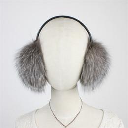 Wholesale Sheepskin Earmuffs - Wholesale-LIYAFUR New Women's Real Genuine Silver Fox Fur Winter Warm Earmuffs Covered With Real Sheepskin Leather