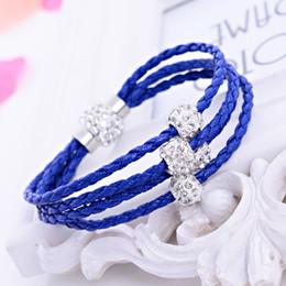 Wholesale Braided Bracelets Crystal Beads - Brand New Shamballa PU Braided Leather Bracelet CZ Disco Crystal Bead Bracelet Handcraft Bangle Bracelets 3 Wraps 16 Colors