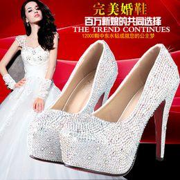 Frete grátis! Hot jóias de perfuração de Ouro Branco Prata Azul Royal Rosa 8-14 cm Saltos de Noiva Sapatos de Festa de Casamento Sapatos S730002 de