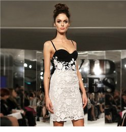 Wholesale Lace Clubbing Dresses - 2016 new black and white lace bandage dress sexy strap patchwork mini contrast color party club women clothing
