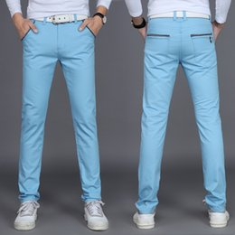 Wholesale Youth Pants Wholesale - Wholesale- 2017 spring and summer men's casual pants male straight Slim trousers men's youth color big size men's trousers trend 6 color