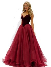 Wholesale Womens Strapless Long Dresses - 2018 New Winter Velvet Long Womens Formal Prom Party Evening Dress Ball Gown Organza A-line Burgundy Gray Green Sleeveless Strapless