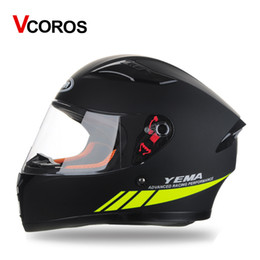 Wholesale Full Size Helmet - Vcoros 832 full face motorcycle helmet man women racing moto helmets with windproof collar M L XL Size ABS Shield k-3 sv style