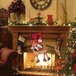 ornamentos de animais por grosso Desconto Meia de natal Meias Saco de Presente Neve Homem Papai Noel XMAS Árvore Padrões de Lotação Ornamentos Decorações Atacado