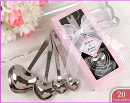 wholesale heart shape measure spoons Promo Codes - 50 sets lot Love Wedding favors of Simply Elegant Heart Shaped Stainless Steel measuring spoon in colorful Gift Box