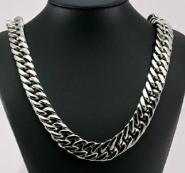 Wholesale Men Style Necklace - New Style Cool Men Jewelry 15mm 24'' Huge Large Stainless Steel Heavy Chunky Curb Link Necklace Chain for xmas   holiday Gifts