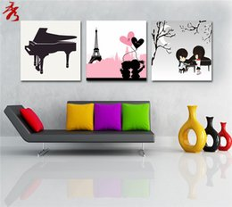 Wholesale Cartoon Pictures For Kids Room - boys and girls heart pink picture home unframed canvas paintings for kids rooms cartoon piano 3 panel modern art photo fashion life decor