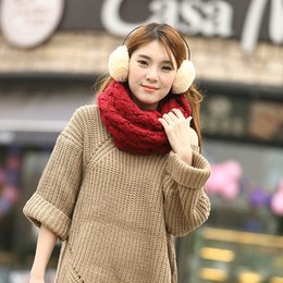 Wholesale White Crochet Scarf - 120*30cm Women Infinity Scarf Winter Warm Thicker Knitted Circle Neck Long Scarf Shawl Ring Pashmina 6Pcs Lot Free Shipping