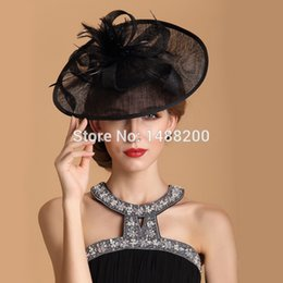 Wholesale Dancing Curls - Wholesale-Fashion Linen Feather Fedoras Hat British Curling Small Cap Headdress For Woman Dance Banquet Wedding Party Cappelli Sombrero