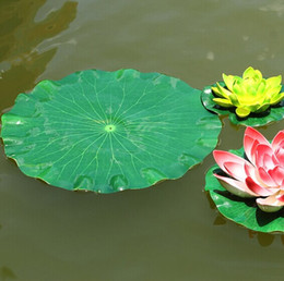 Wholesale Pool Materials - 28 cm Garden Home Decor Artificial Flower Lotus Leaf EVA Material Fish Tank Water Pool Decorations Green Plant Craft Ornament Free Shipping