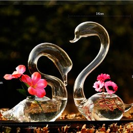 Wholesale Glass Sculptures - Hand Blown Glass swan Sculpture Home Decor set of 2 beautiful Art Glass Vases Lover's Gift Flower decoration