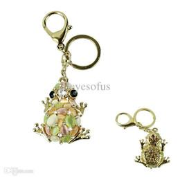 Wholesale Key Chain Frog - Wholesale-Novel designs New Cat eye stone Frog Keychain Crystal purse Bag Key Chain ring key fob Gift,Free shipping