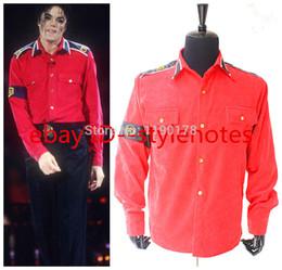 Wholesale Cte Shirt - Wholesale-Rare Michael Jackson RED CTE Corduroy Outwear Shirt Jacket MJ COSTUME- Pro Series MJ COSTUME
