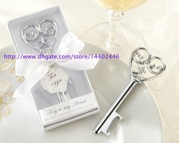 Wholesale Wine Opener Gift Box - 50pcs Key to My Heart Simply Elegant victorian wine bottle opener Barware Tool wedding Party favor gift Silver With White Retail Box