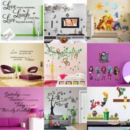 Wholesale Decorative Kids Wall Decals - Mix Order Removable Cartoon Wall Sticker for Kids Nusery Rooms Decorative Wall Decals Home Decoration Movie Wallpaper Wall Art 3d Window