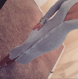 Wholesale Ankle Length Wool Dresses - Top Sexy Gray Sheath Mid Calf Women Dress 2016 Newest Deep V Neck Long Sleeve Button Knitted Charming Long Dress In Store Party Dress
