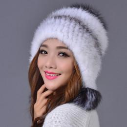 Al por mayor-alta calidad 100% piel de visón de punto sombrero de bombardero  grueso y cálido gorras de oreja para las mujeres 73b1938644d